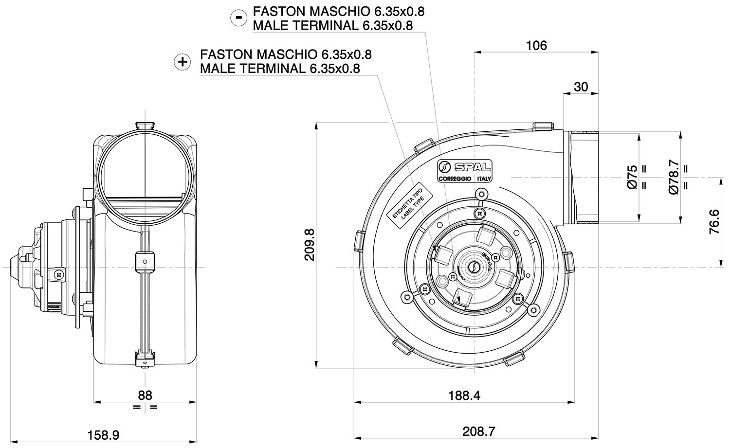 001 A53 03s Spal Centrifugal Blower 260cfm Products 106 Wiring Diagram Fans Dimensioned Drawing