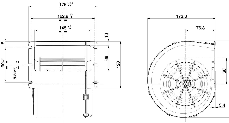 007-a42-32d - spal centrifugal blower fan - 454cfm