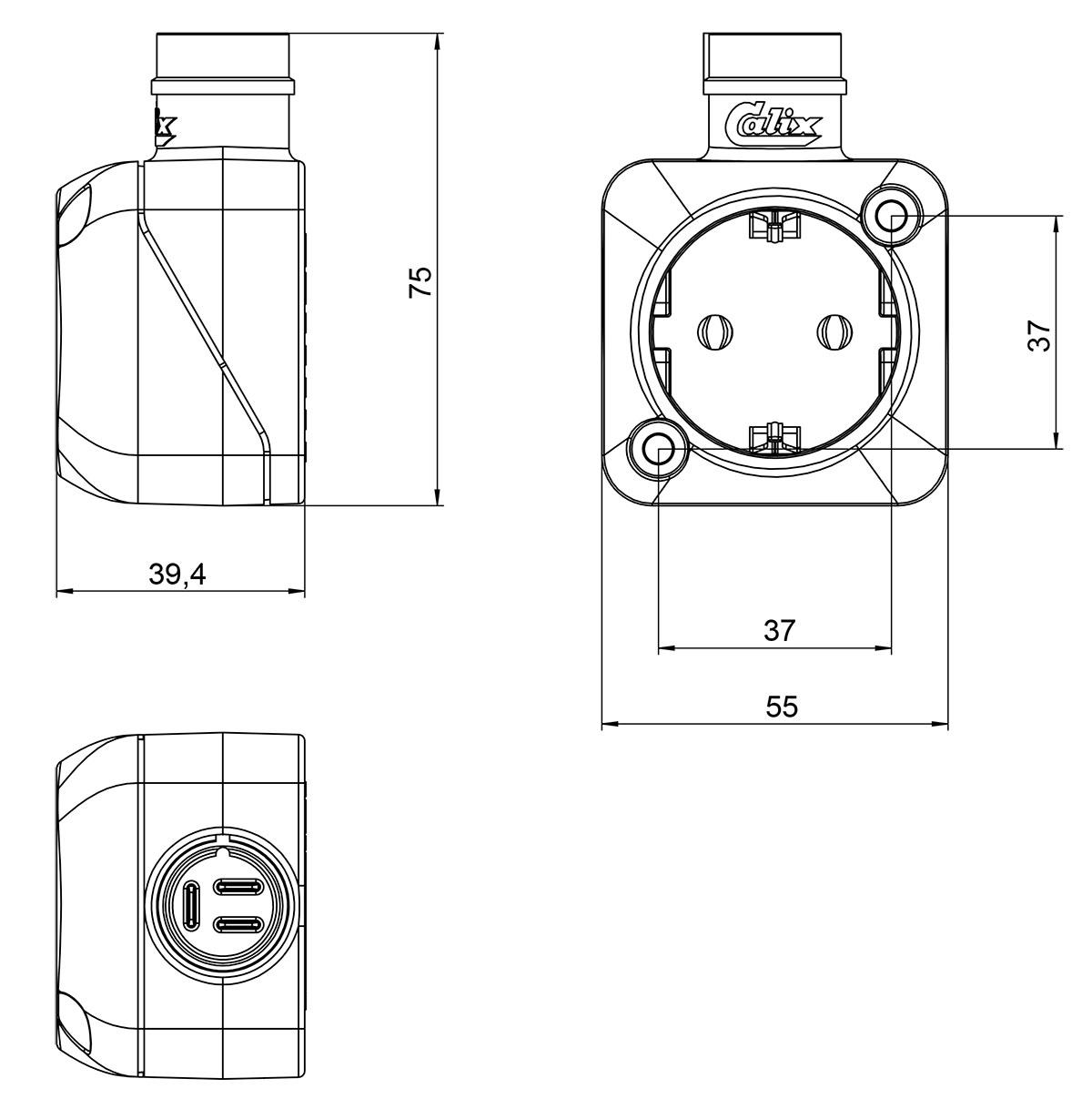 Calix Cable Wall Socket Schuko (TypeF) 1556036