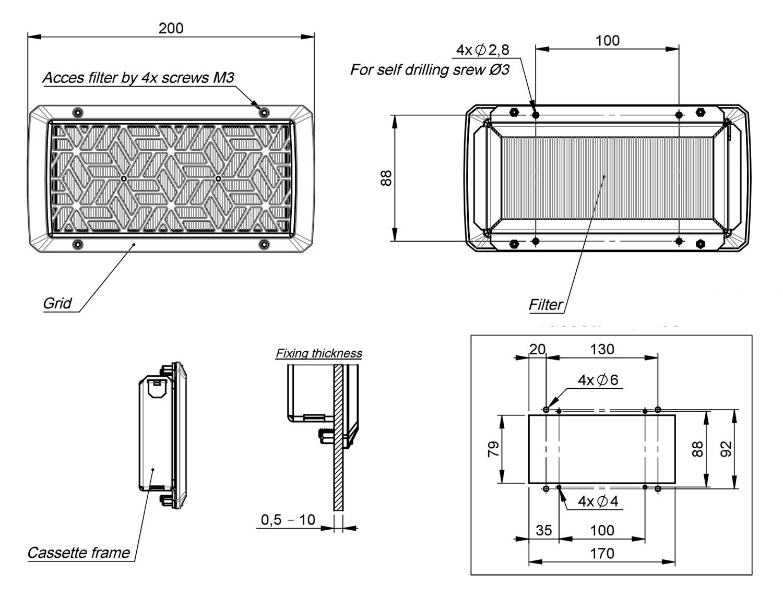200mm Cassette Filter Dimensions