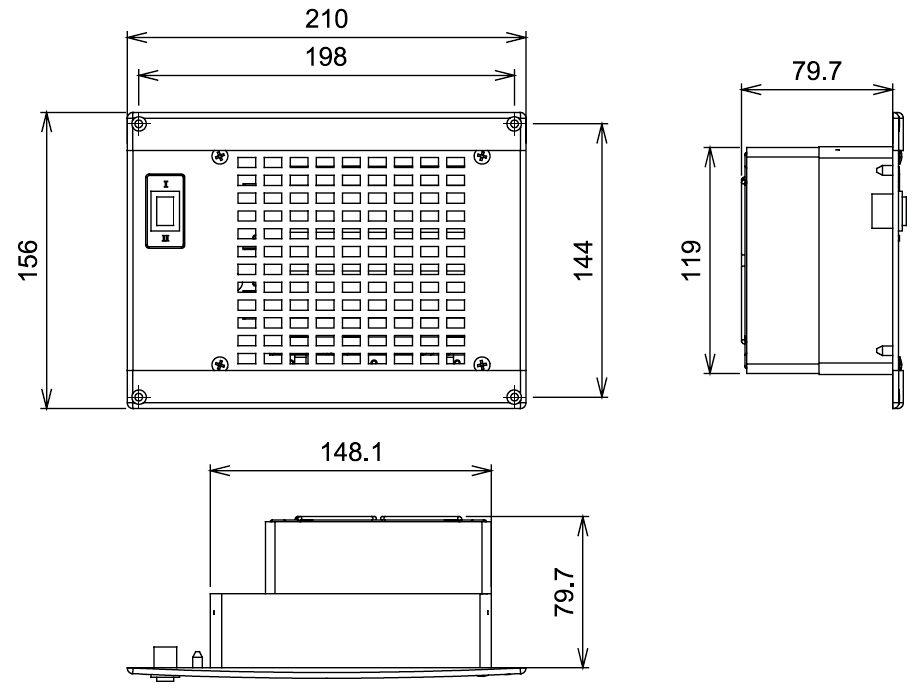 220v 500w Panel Mount Electric Heater Dimensions