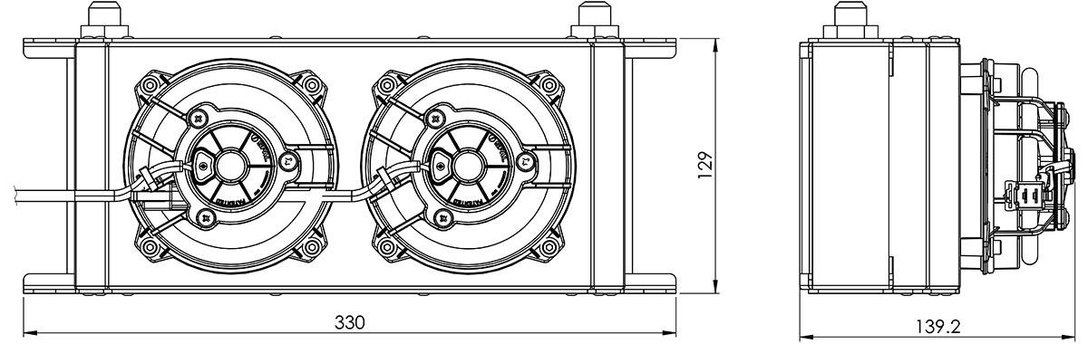 235mm 16 Row Oil Cooler Fan Shroud Kit Dimensions