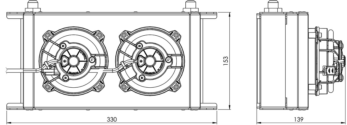 235mm 19 Row Oil Cooler Fan Shroud Kit Dimensions