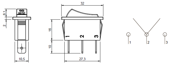 3 Position Rocker Switch Dimensions