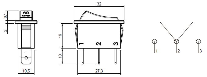 3 position heater fan rocker switch