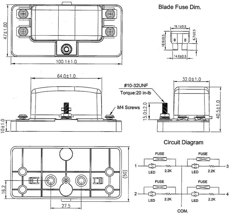 12v  24v 4 way blade fuse box holder led warning lights kit