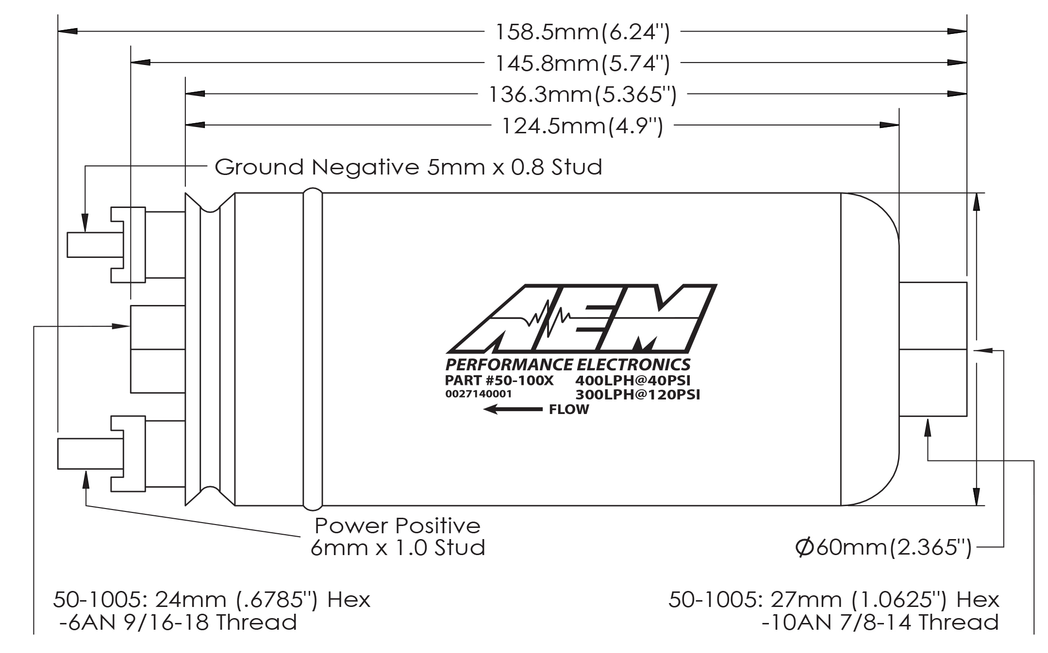 50-1005 AEM 400lhr High Flow Fuel Pump Dimensions