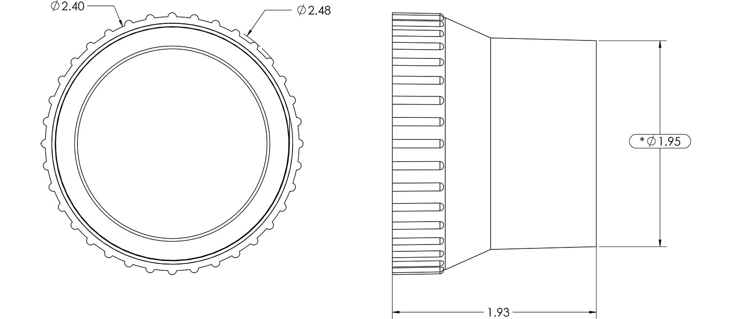 51mm 2 Ball Vent Connector Dimensions