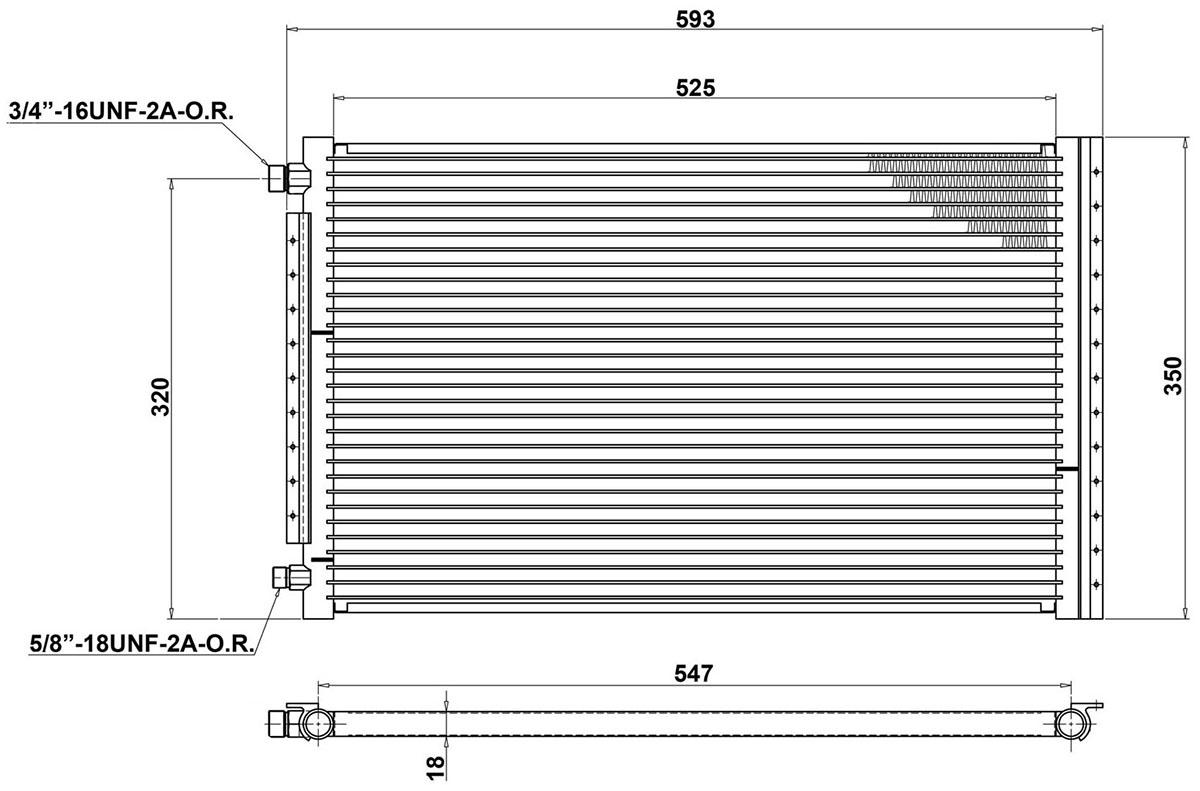 Universal AC Condenser Radiator 525 x 350mm