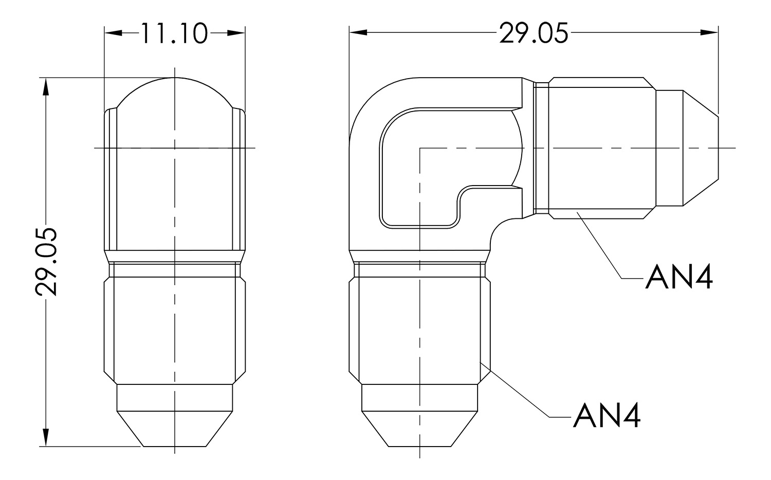 AN04 90° Forged Male to Male Dimensioned Drawing