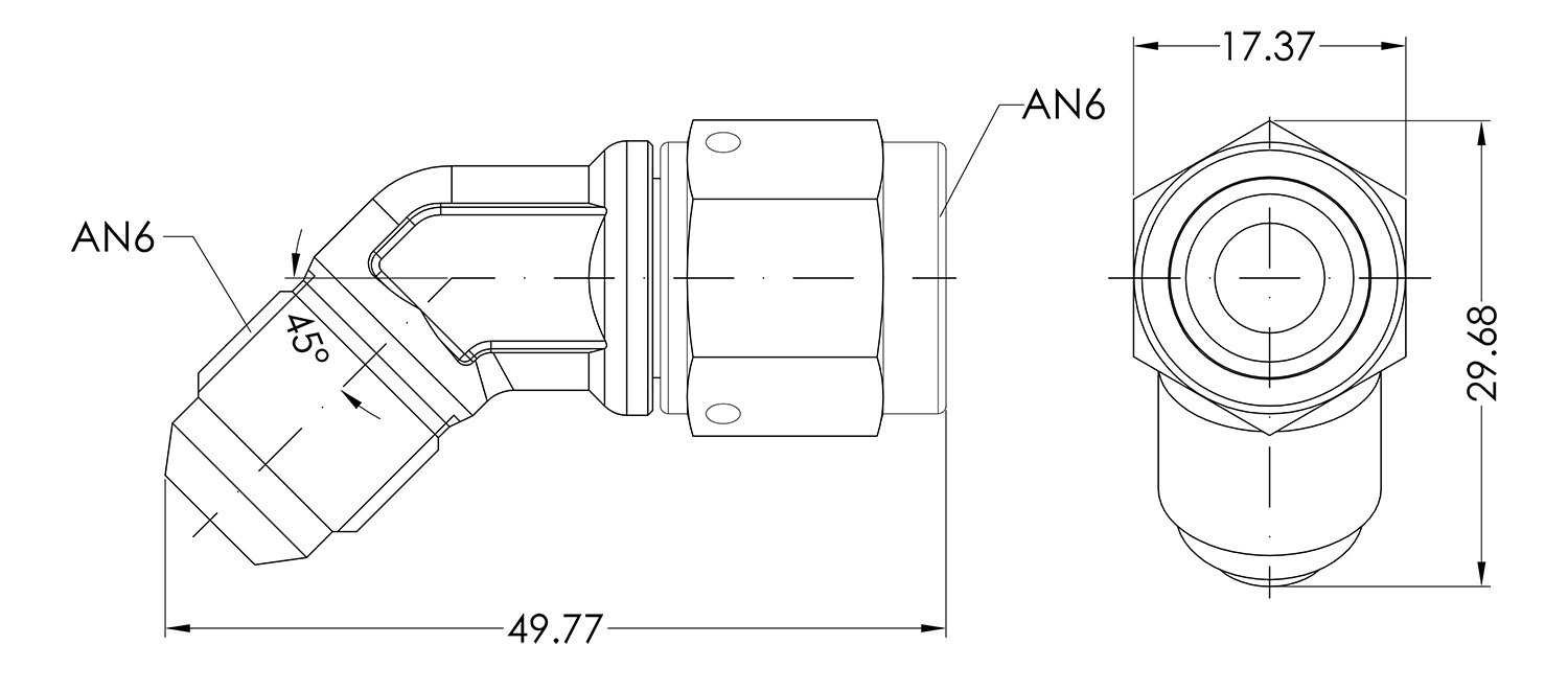 AN06 45° Forged Male to Female Dimensioned Drawing
