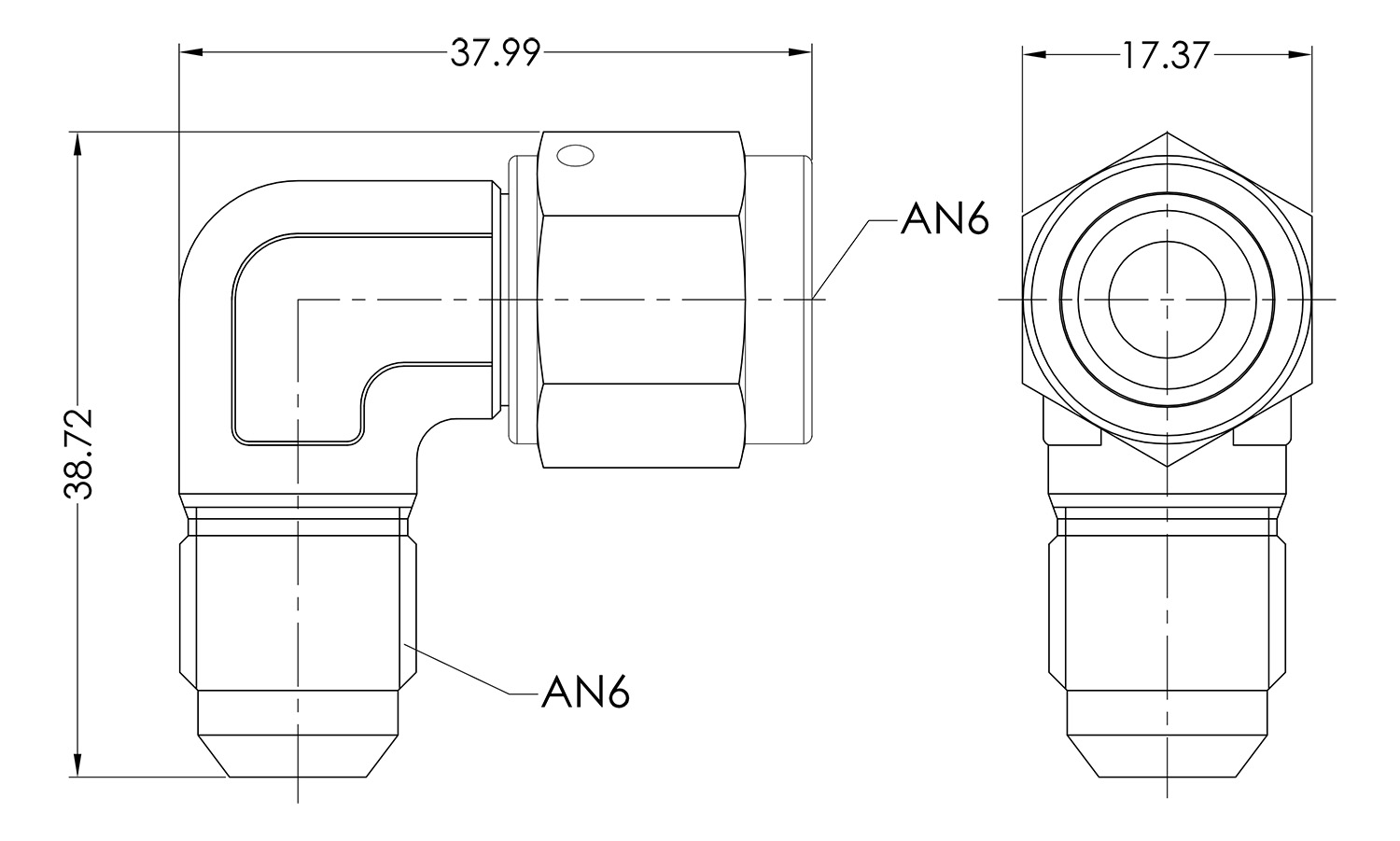 AN06 90° Forged Male to Female Dimensioned Drawing