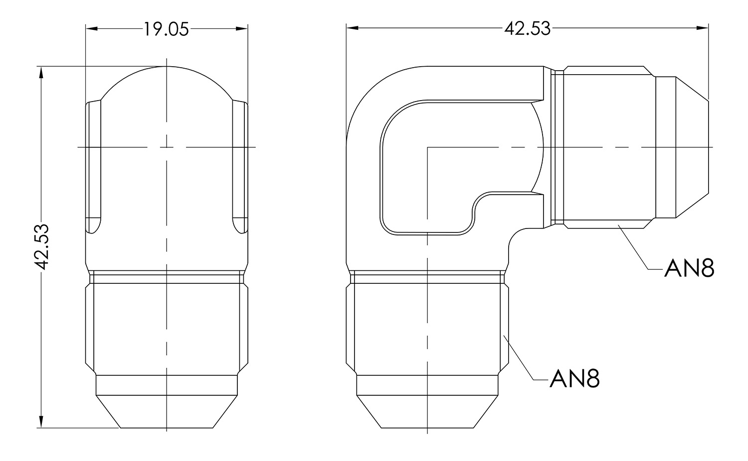 AN08 90° Forged Male to Male Dimensioned Drawing