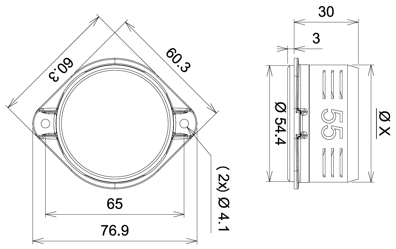 Bolt on Air Connector Dimensions