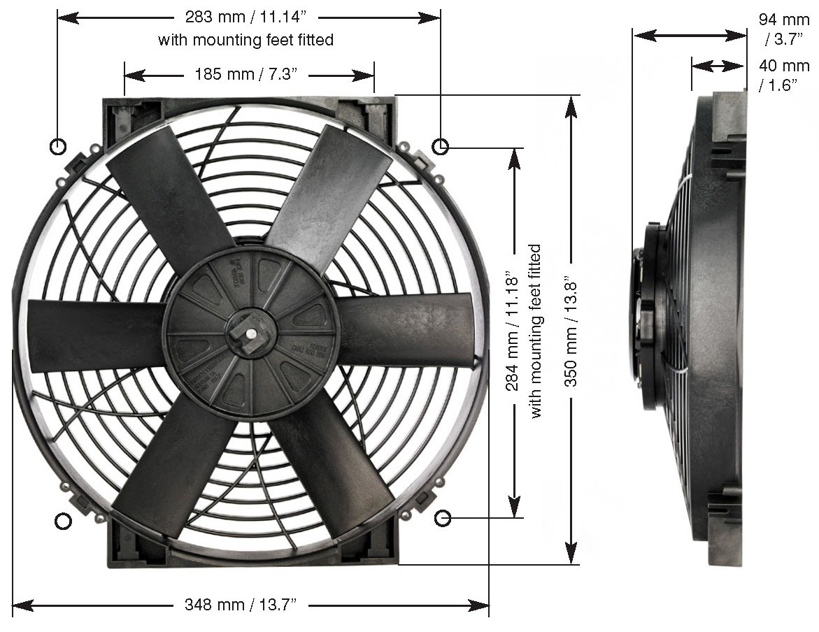 Davies_Craig_0107_14_inch_Thermatic_Electric_Radiator_Fan_High_Power_Dimensions