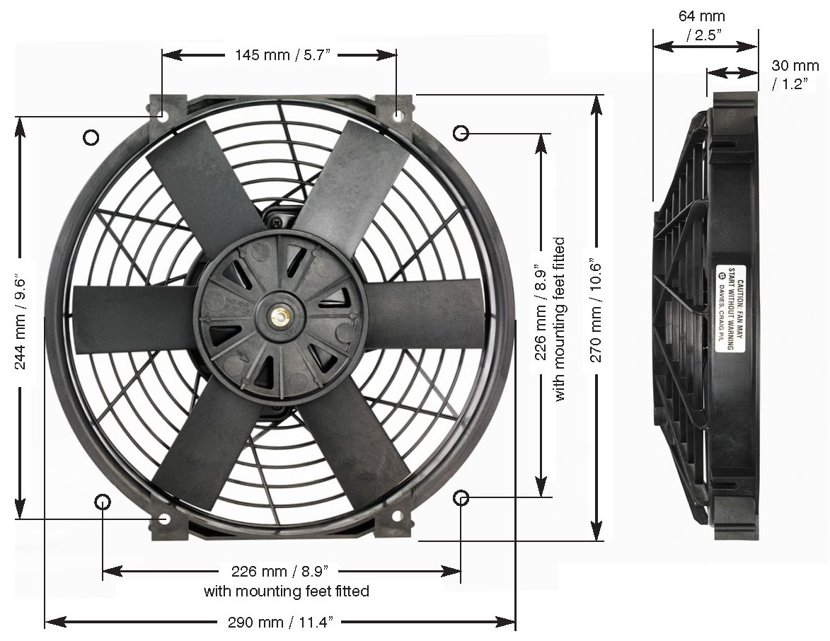Davies_Craig_0145_10_inch_Thermatic_Electric_Radiator_Fan_Dimensions