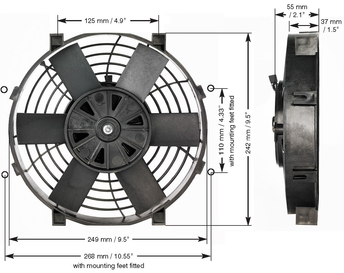 Davies_Craig_0135_9_inch_Thermatic_Electric_Radiator_Fan_Dimensions