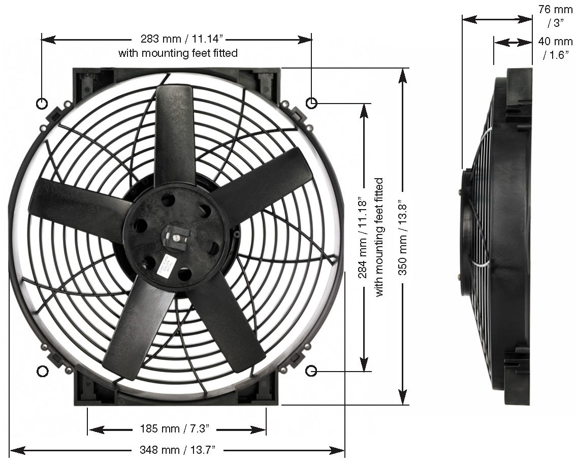 Davies_Craig_0164_14_inch_Thermatic_Electric_Radiator_Fan_High_Power_Dimensions