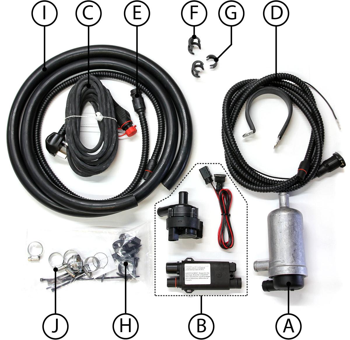 T7Design Engine Pre Heater Kit Contents