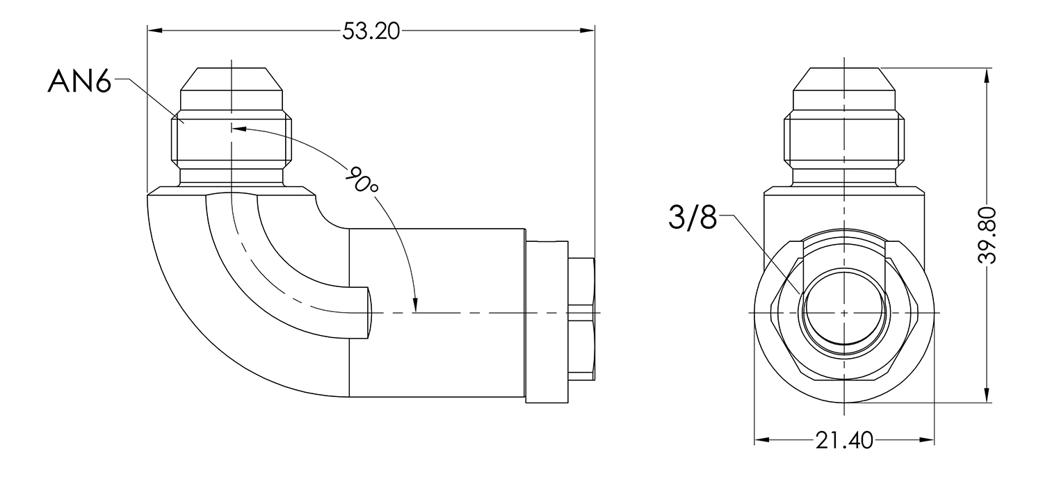 AN06 to 3/8 Female 90 Quick Fuel Connector