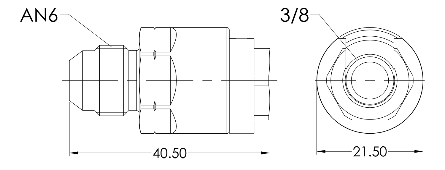 AN06 to 3/8 Female Quick Fuel Connector