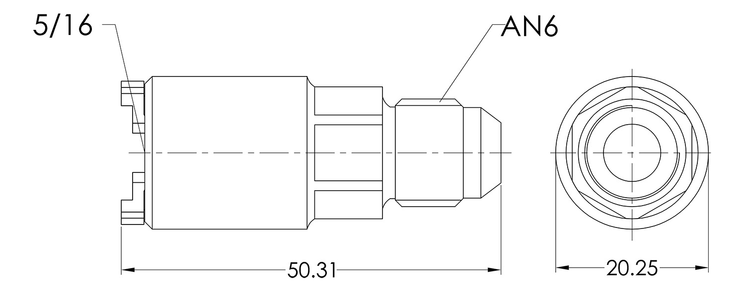 AN06 to 5/16 Female Push On Quick Fuel Connector
