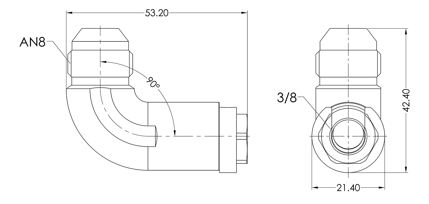 AN08 to 3/8 Female 90 Quick Fuel Connector