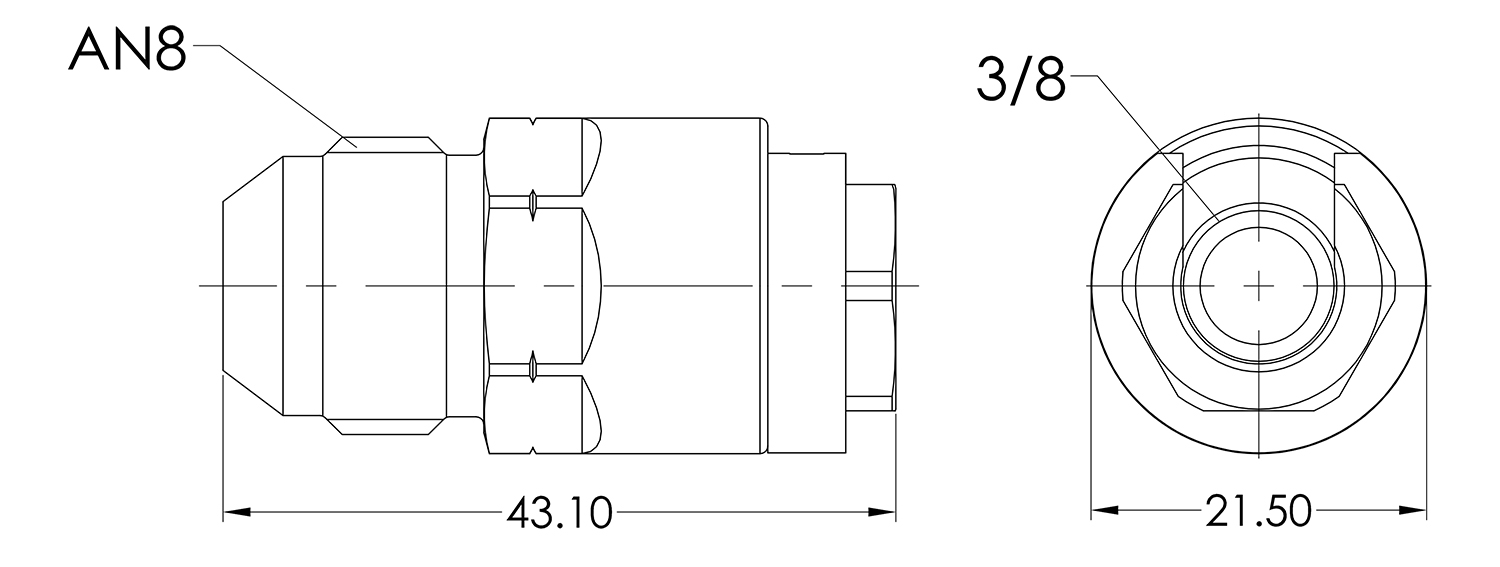AN08 to 3/8 Female Quick Fuel Connector