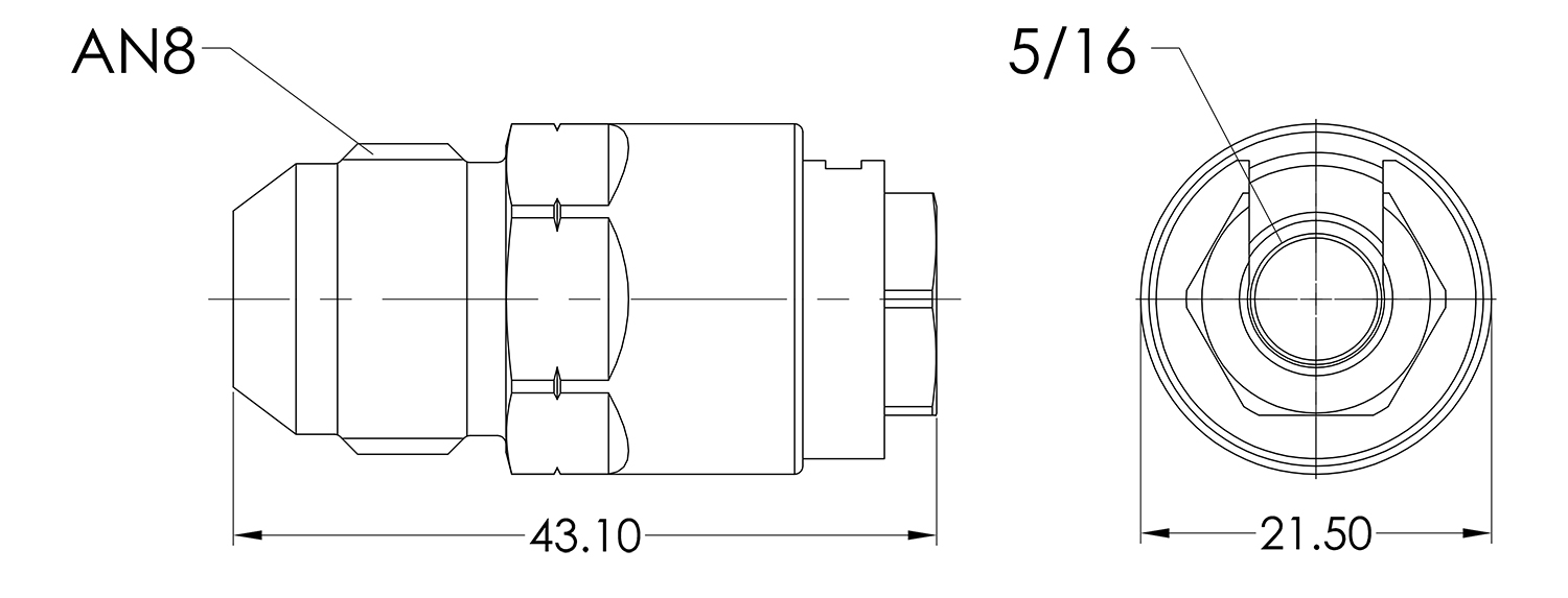 AN08 to 5/16 Female Quick Fuel Connector