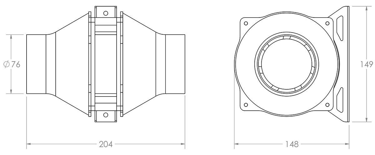 Large Inline Blower Dimensioned Drawing
