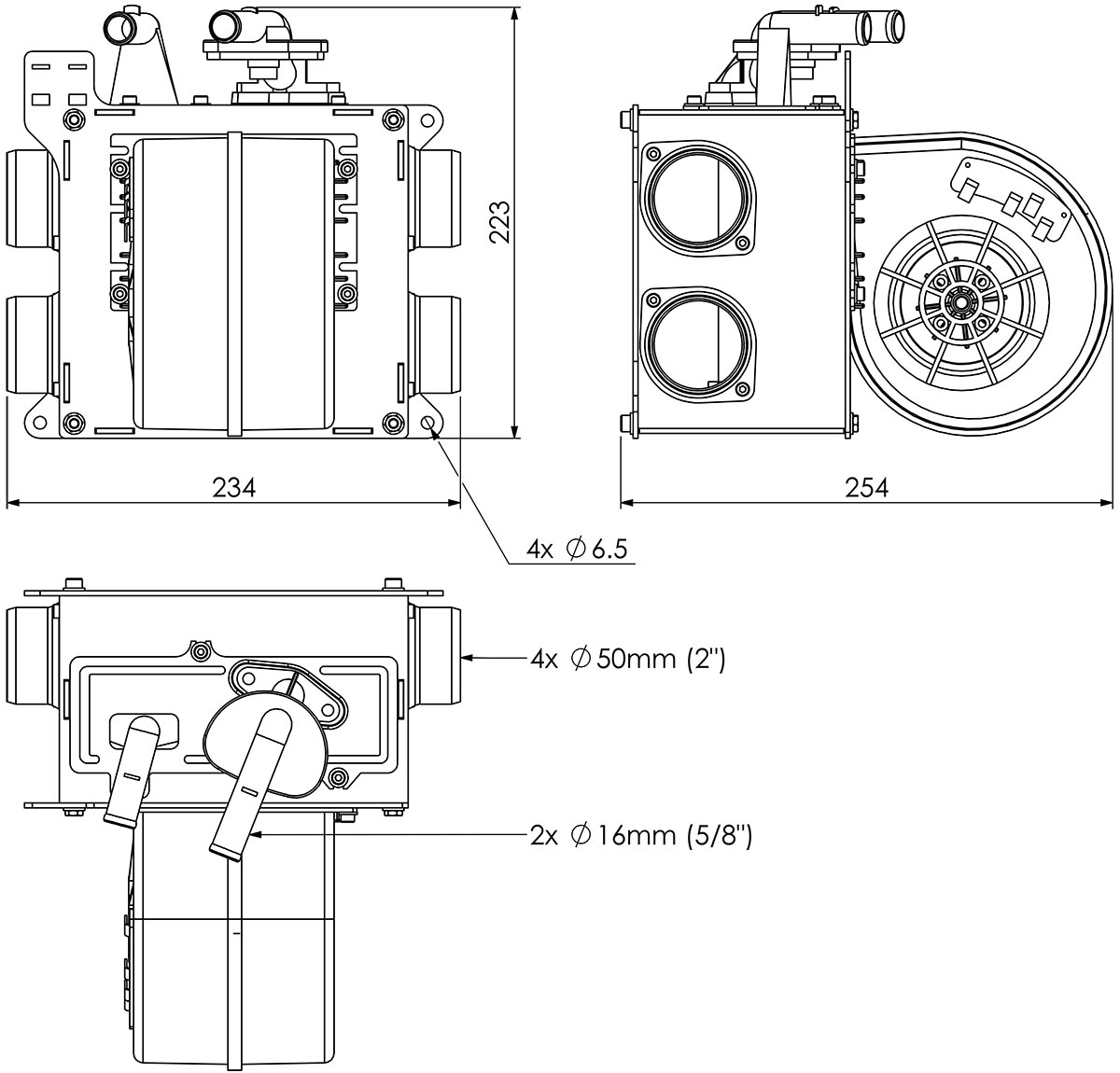 5kw Midi Heater Side Vents Dimensions