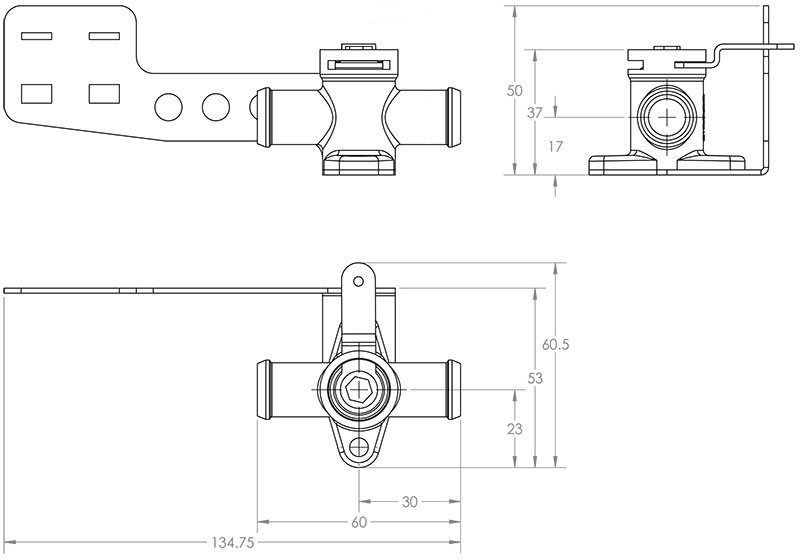 Brass Valve Pull to Close Dimensioned Drawing