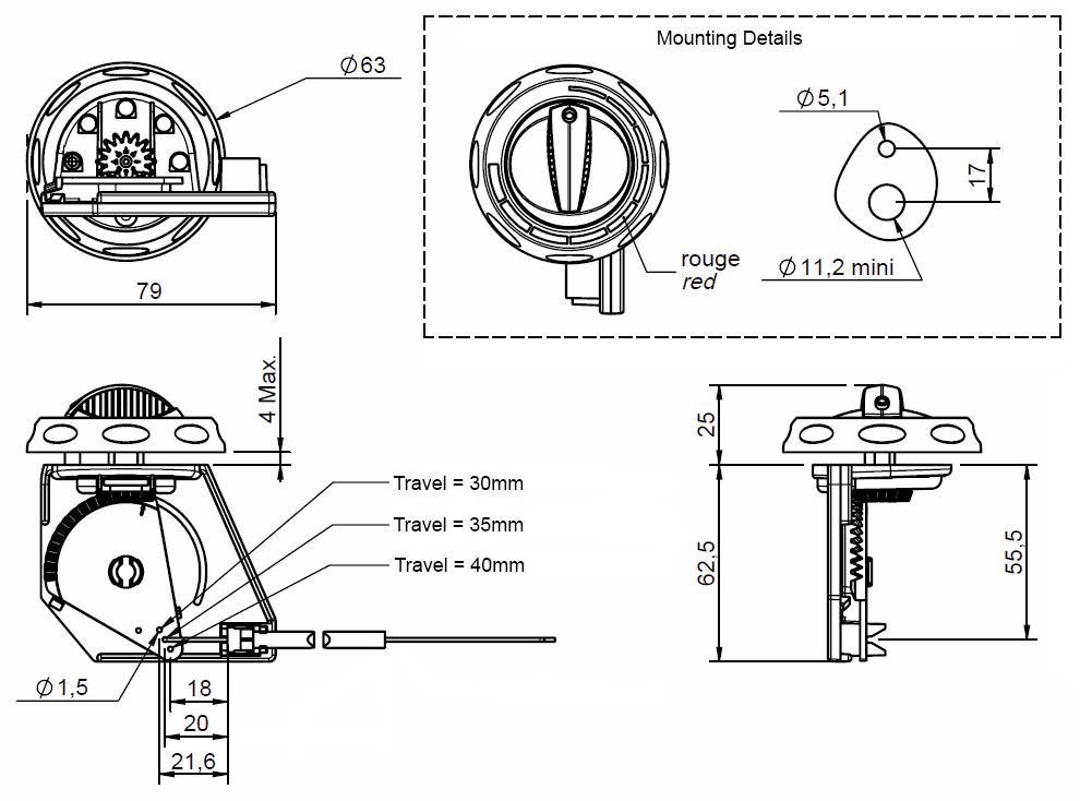 rotary heater control knob