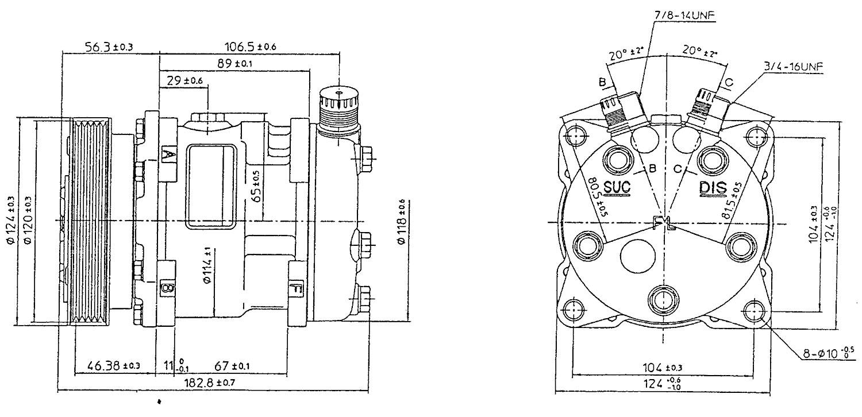 SD5H09 5074 Sanden Compressor Dimensions