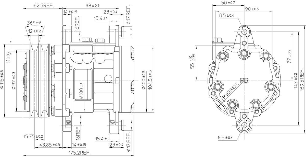 SD7B10 7150 7170 Sanden Compressor Dimensions