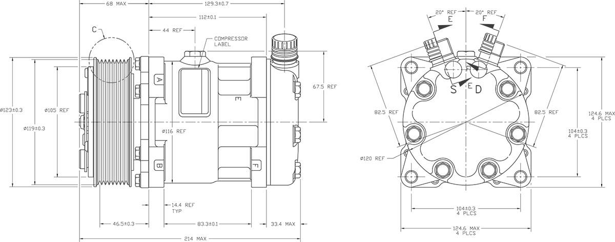 SD7H15 4762 Sanden Compressor Dimensions