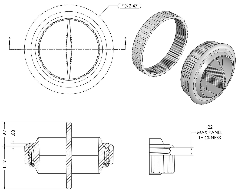 Single Vane Ball Air Vent Dimensions