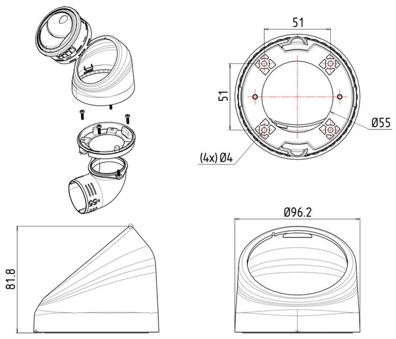 Twist Base Air Vent Dimensions