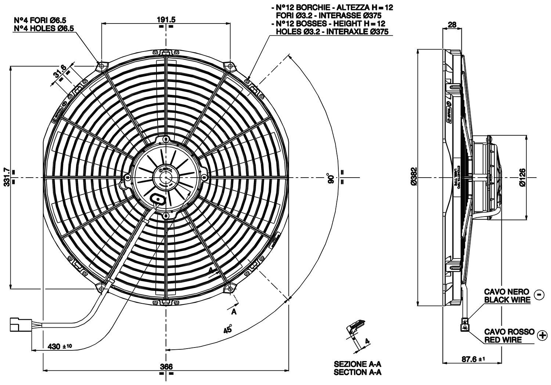 "350mm PULL SPAL Electric Radiator Fan VA08-AP70LL-23MA 13.8/"" 1434 cfm"