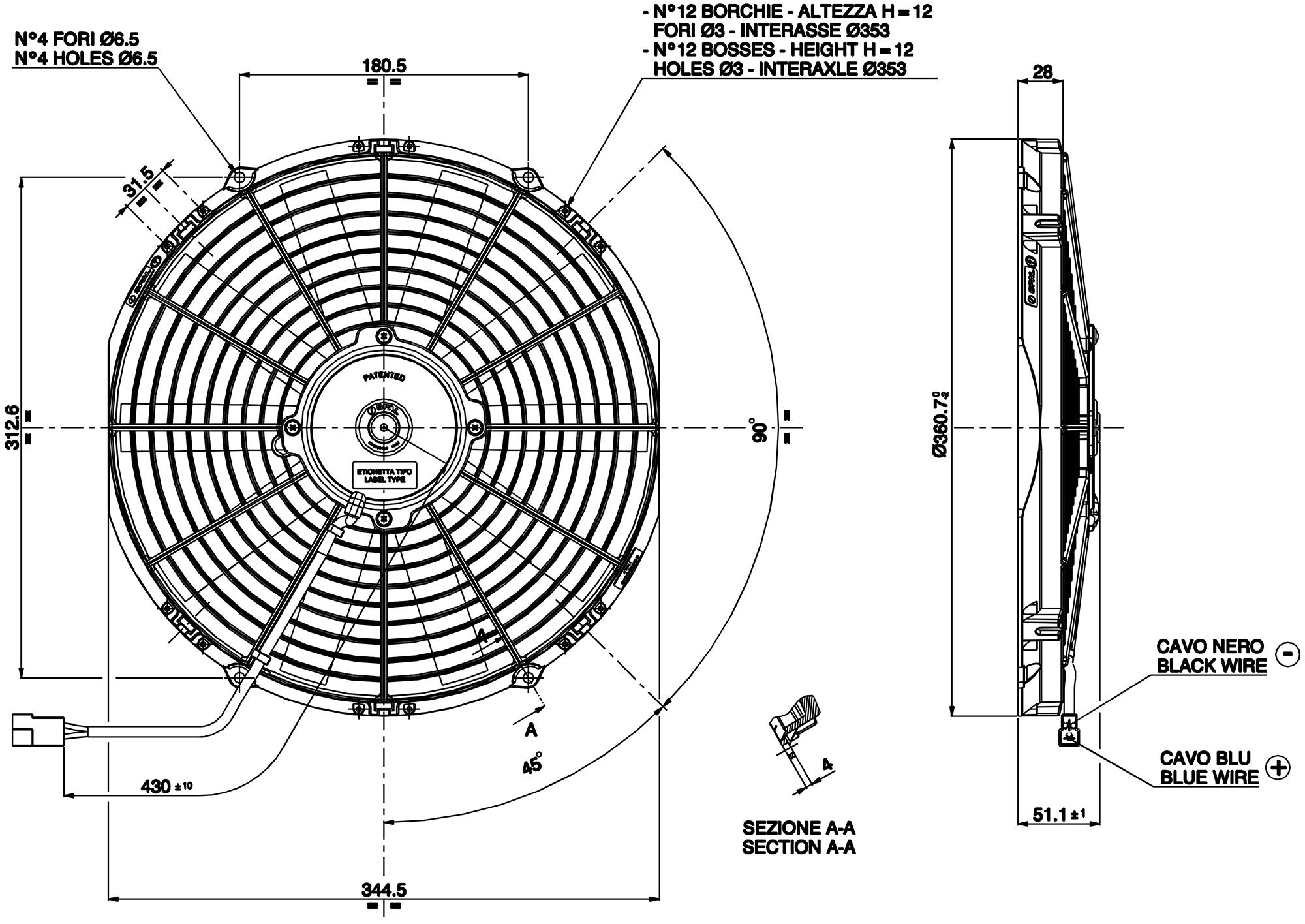 VA13-AP9/C-35 Dimensioned Drawing