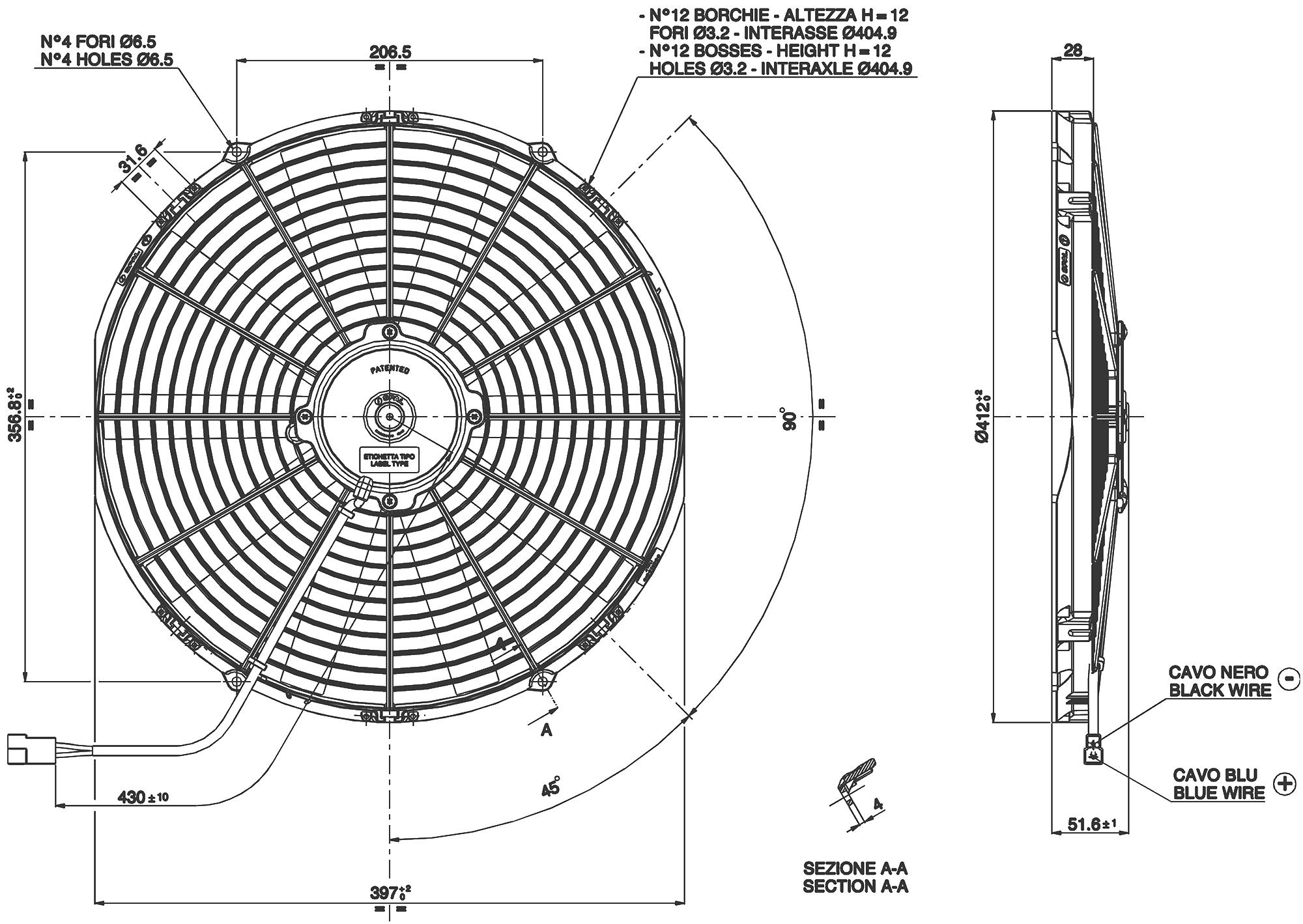 VA18-AP10/C-41A Dimensioned Drawing