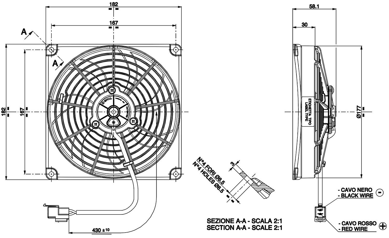 Vehicle Radiator Fan 55 Va68 A101 38a Fans T7design Ltd 10 Wiring Diagram Spal 83 Dimensioned Drawing