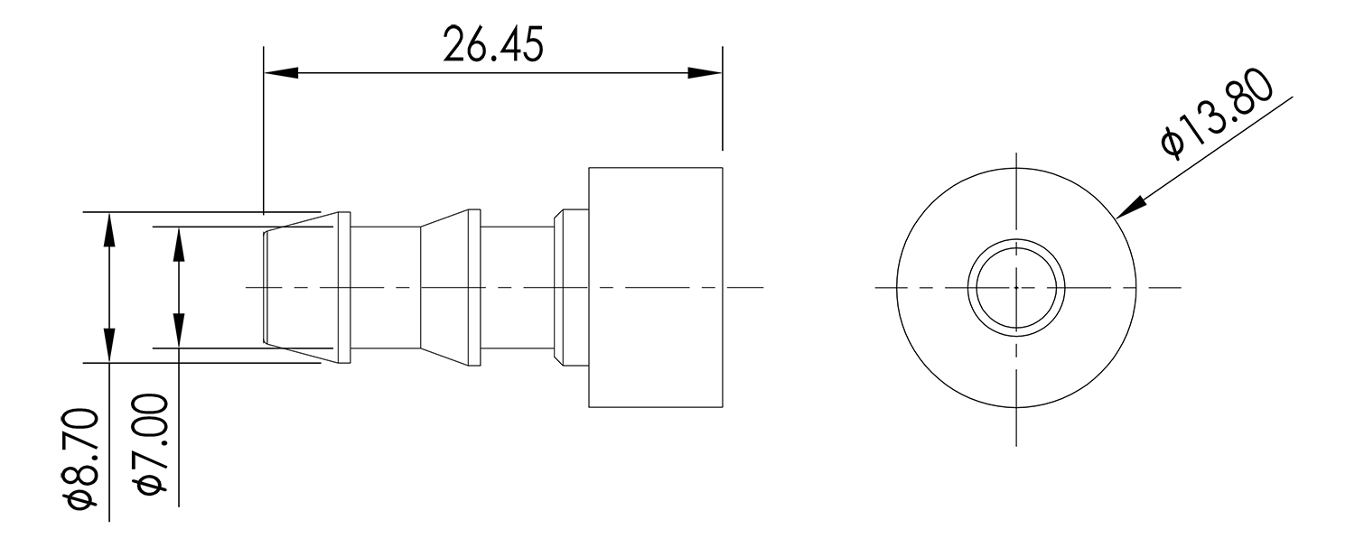 Weld On Barb 1/4 Drawing