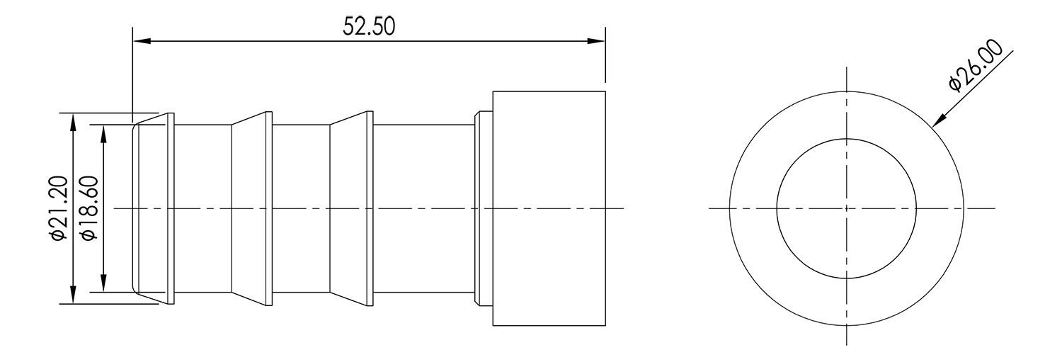 Weld On Barb 3/4 Drawing