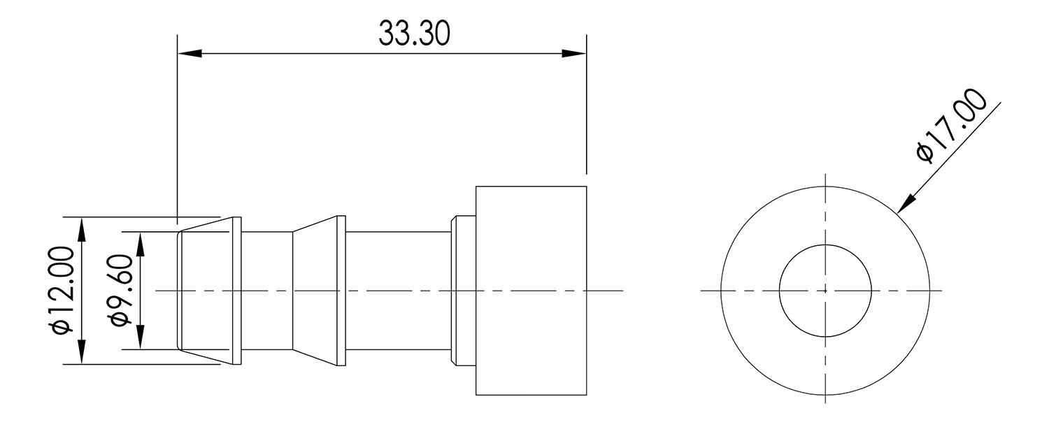 Weld On Barb 3/8 Drawing