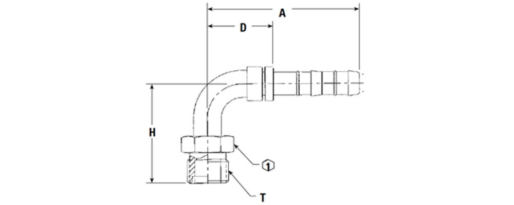 -8 90° 3/4-16 Male Insert O-Ring (MIO) FJ3056-02-0808S (Long Pilot)